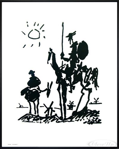 Close Up Pablo Picasso Don Quixote Kunstdruck (52x41 cm) gerahmt in: Rahmen schwarz