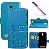 COTDINFOR Acer Liquid Z6 Hülle für Mädchen Elegant Retro Premium PU Lederhülle Handy Tasche im Bookstyle mit Magnet Standfunktion Schutz Etui für Acer Liquid Z6 Clover Blue SD.