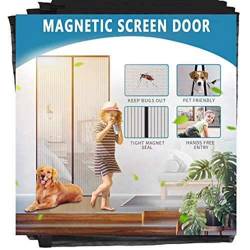 Aoocan Magnetic Screen Door - Door Net Screen with 26 Magnets Heavy Duty Mesh Curtain, Door Screen Magnetic Closure. Fits Door Size up to 34' x 82' Keeps Bugs Out