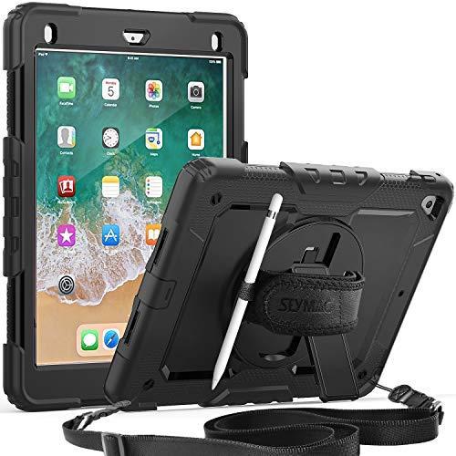 SEYMAC Schutzhülle für iPad 2018/2017 9,7 mit drehbarem Ständer & Handschlaufe, Schultergurt & Bildschirmschutzfolie, Stifthalter für iPad 5./6. Gen/Pro 9.7/Air 2 schwarz schwarz