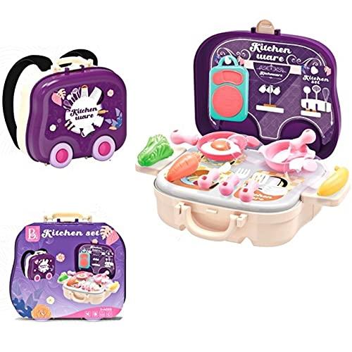 XKMY Conjuntos de médicos para niños y niños, juego de rol, juguetes de casa, mochila de plástico portátil, juguetes de cocina, set de doctor para regalo de niños (color : juego de cocina)
