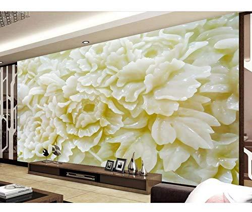 Xzfddn Custom Photo Wallpaper 3D Eurpean Jade Peony Relief Papel pintado 3D Fondos de TV Fondo de Escritorio El Sala Sofá Telón de Fondo Mural