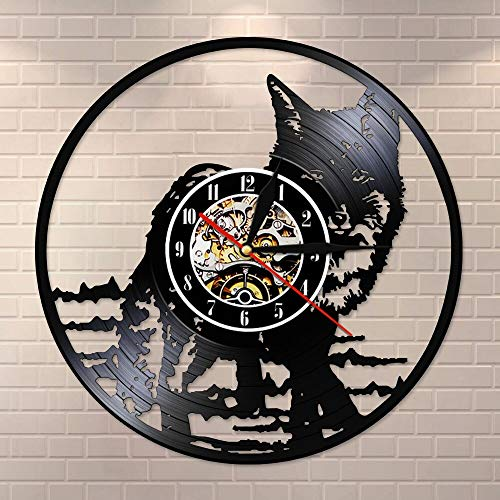 BFMBCHDJ Black Cat Modern Silent Vinyl Record LP Wall Clock Kid Room Nursery Animal Wall Art Non Ticking Watch Timepiece Cat Lover Gift With LED 12 inches