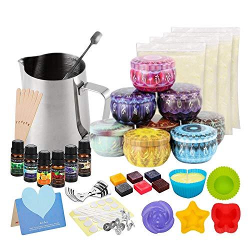 iBaste DIY Candle Making Kit, Kerzen Selber Machen Set, Soy Wax Can Wick Holder
