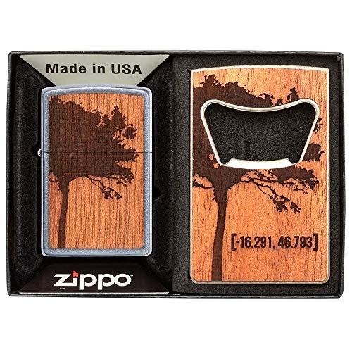 Zippo Classic Lighter-Woodchuck Lighter & Bottle Opener Gift Set, Sonstige, Silver, 13.5 cm