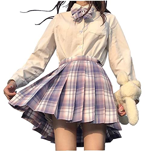 JK Skirt Girl Gonna a Pieghe Plaid Uniforme del Marinaio Gonna con pareggio per Le Ragazze Studenti Viola Chiaro XS