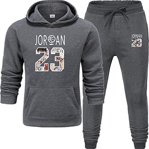 lfly Jordan Tracksuit Moda 2 Piezas Conjuntos para Hombres, Entrenamiento de Jogging Hombre y Mujer Sportswear Hoodie + Pantalones Sporting Traje Masculino (S-3XL) Dark Gray-L