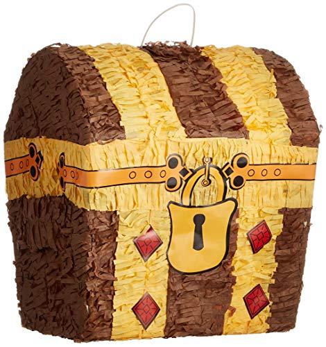 Amscan P18650 - Pinata Schatztruhe, 38,1 x 33 x 21,5 cm, zum Befüllen mit Süßigkeiten und Konfetti, Kindergeburtstag