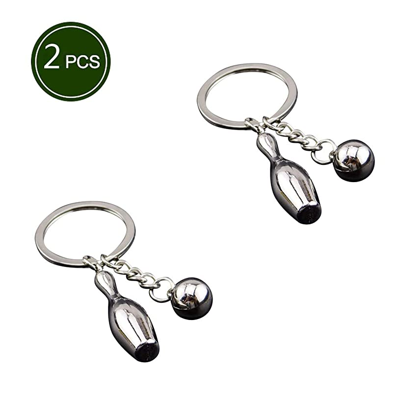 Air Metal Bowling Tennis Keychain Heavy Duty Car Key Ring for Man and Women -Pack of 2