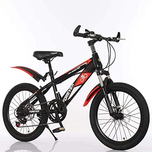 KEKEYANG Outdoor 18Inch Variable Speed Mountain Bike, Comfortable Saddle, Nonslip Pedal, Kids Bike, Suspension Fork, Safe and Sensitive Brake Bike (Color : Black, Size : A)