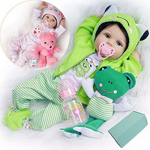 Reborn Bambola Femmina Reale 55 cm Silicone Vinile 2 Vestiti Verde con Giocattolo Rana