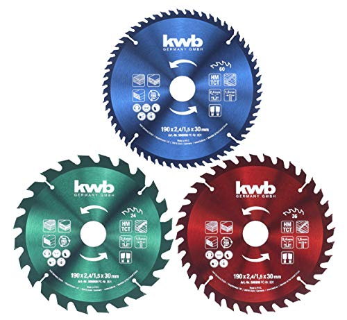 kwb Kreis-Sägeblatt-Set 190 x 30/20 / 16 mm für Handkreis-Sägen, f. Platten-Werkstoffe u. Baustoffe aus Holz inkl. Reduzier-Ringe auf 16 u. 20 mm