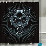 YILINGER Bathroom Shower 60'x72' Pattern Modern Elegant Microfiber Fabric Bath Curtains, Muzzle Angry Wolf Print Isolated Sticker Werewolf Head Logo