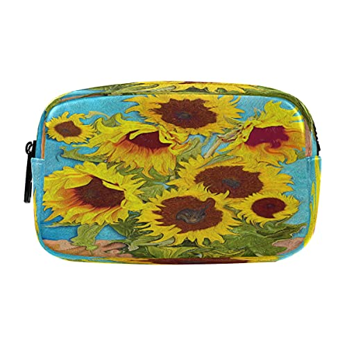 ECHOLI Estuche para lápices de Van Gogh con diseño de girasol, bolsa de cosméticos, organizador de maquillaje con cremallera para adultos, mujeres, adolescentes, niñas y escuelas