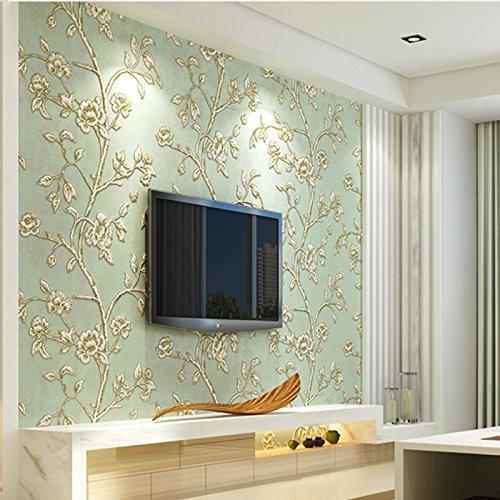KeTian Moderne einfache 3D-Tapete von dick Vliesmaterial geprägt mit Baum-/Blumen-Muster, als TV-Hintergrund, Tapeten-Rolle grün 0.53m (1.73' W) x 10m(32.8'L)=5.3m2 (57 sq.ft)