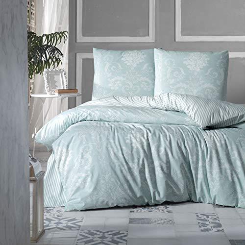 ZIRVEHOME Bettwäsche 200x200 cm. 3 teilig, grün 100% Baumwolle/Renforcé, Wende Bettbezug Weiß Barock Muster, Verdeckter Reißverschluss, mit 2 mal Kopfkissenbezug 80x80 cm. Model: Alone V2