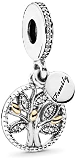 Family Heritage Dangle Charm, Two Tone - Sterling Silver and 14K Yellow Gold, Clear Cubic Zirconia, One Size