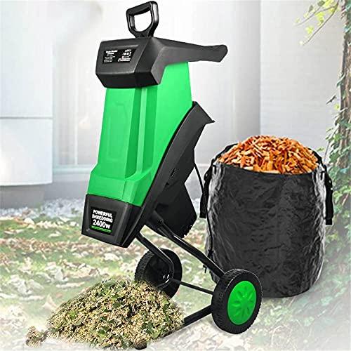 Trituradora de jardín de 2400 W, trituradora de madera eléctrica, trituradora de ramas con bolsa de recolección de 50 l, trituradora de hojas para herramientas de jardín para césped,10M Power Line