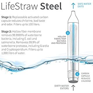 LifeStraw Steel Personal Water Filter with 2 Stage Carbon Filtration for Hiking, Camping, Travel and Emergency Preparedness
