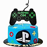 Game On Big Cake Topper - Black and Green Giltter Video Game Controller Cake Decorations Pick for Kids Boys Gaming Themed Birthday Party Favors Supplies
