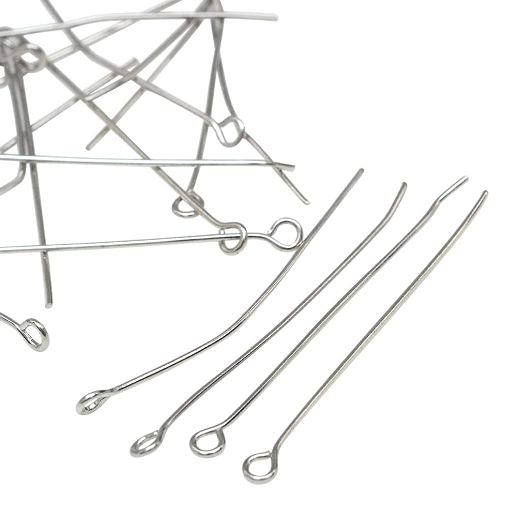 PH PandaHall About 1200 Pcs Iron Head Pins Findings Open Eye Pin Length 2.76 Inch 21-Gauge for Jewelry Making, Platinum