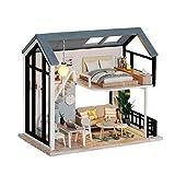 fuchsiaan Kit de muebles de casa de muñecas en 3D con luz LED, casa de ensueño de bricolaje modelo hecho a mano, modelo de pantalla, regalo de cumpleaños, entretenimiento para padres e hijos C