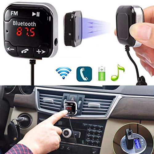 NAttnJf - Transmisor FM para Coche con Bluetooth y MP3, Cargador Dual USB para iPhone XS MAX XR X 8/7/6/6 S Plus Samsung Galaxy S5 / S6 / S7 / S8 / S9 Nota 9 8 GPS