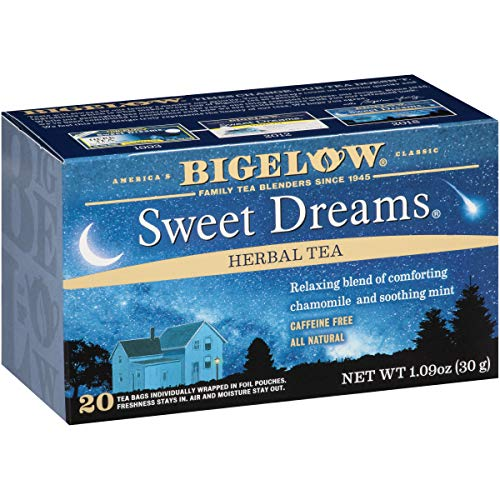 Bigelow Sweet Dreams Herbal Tea Bags, 20 Count Box (Pack of 6) Caffeine Free Herbal Tea, 120 Tea Bags Total