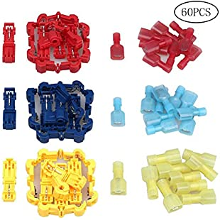 ruix 60PCS(30 Pairs) Quick Splice Electrical Wire Terminals Insert Sheet Nylon Full Insulation Terminal Spade Bullet Butt Connectors Kit