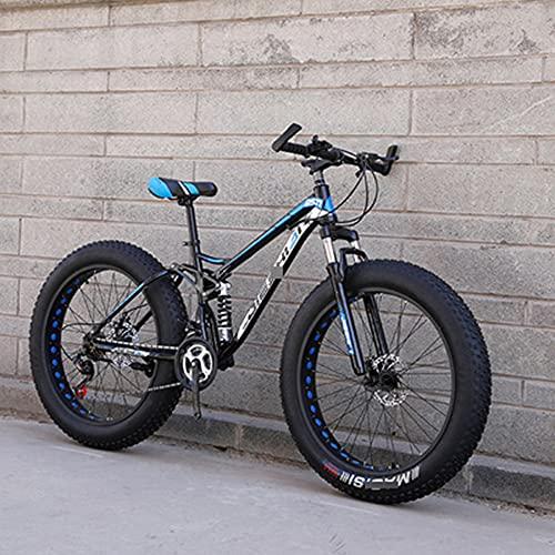 MLHH Bicicletas de montaña Ciclismo Cross Country Off-Road Bicicleta de Velocidad Variable MTB Road Fat Tire Bicicletas de Trail para Hombres y Mujeres 24 velocidades 24 Pulgadas Ahuecar Azul Negro