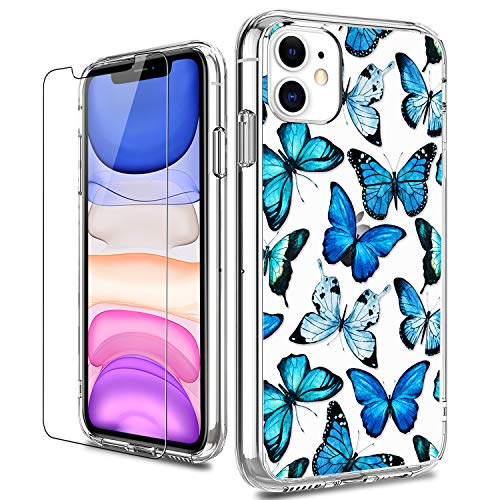 LUHOURI iPhone 11 Case with Screen Protector,Clear with Floral Flower Designs for Girls Women,Shockproof Slim Fit TPU Cover Protective Phone Case for iPhone 11 6.1 inch Blue Butterflies