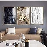 WTYBGDAN Moderne Schwarze weiße goldene Federn Wandkunst