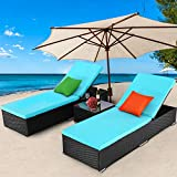 TUSY 3 Pieces Patio Chaise Lounge Sets, Outdoor Rattan Lounge Chairs with Coffee Table, Adjustable Back, Rattan Furniture and Cushion