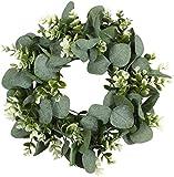 FLORLAB - Eucalyptus Wreath - 12 Inches - Farmhouse Wreath - Front Door Wreath - Door Decor - Green Wreath - for Indoors - Small Wreath - Mini Wreath - Perfect Spring Summer Wreath (12 inches)