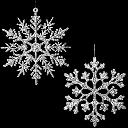 48 Pieces Tmflexe Plastic Christmas Glitter Snowflake Ornaments Christmas Tree Decorative Hanging Ornaments Decorations 4-inch, Silver