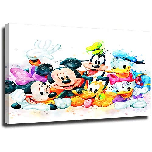 Wall Art Poster Prints Cartoon Mickey Minnie Mouse and Friends Colorful Painting Bathroom Bedroom Decor Prints Canvas Wall Art Small Framed Artwork 28x20 inch
