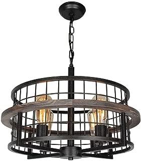 Baiwaiz Round Rustic Farmhouse Chandelier, Wood Metal Wire Cage Pendant Light Drum Shaped Industrial Chandelier 4 Lights Edison E26 073