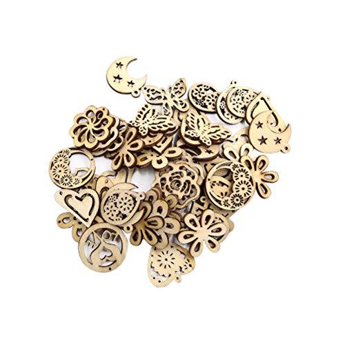 Supvox Ciondolo in legno a forma di fiore in legno decorazione artigianale Scrapbooking abbellimenti 50 pezzi (misto)
