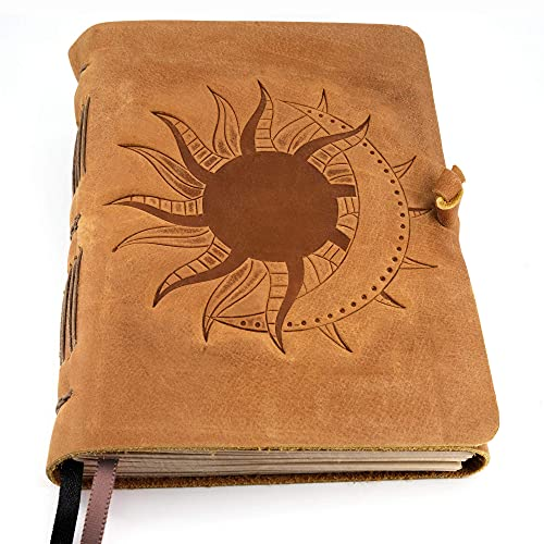 Leather Journal with Lined Pages - Sun & Moon Leather Bound Writing Journal for Women & Men (5x7 in) Lined Journals for Women, Leather Bound Notebook Ruled Journal & Diary, Lined Journal for Writing