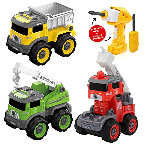 Take Apart Toys with Electric Drill, Take Apart Truck with Drill Toys for Boys and Girls, Vehicle Transform into Driver Robot or Remote Control Truck, Gifts Toy for 3 4 5 6 7 Year Old Boys and Girls