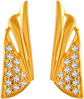 P. C. Chandra Jewellers 22k (916) Yellow Gold and American Diamond Clip-On Earrings for Women