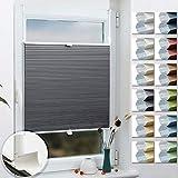 Grandekor Wabenplissee Klemmfix Verdunkelung Thermo Zweifarbig 65x200cm (BxH) Weiß-Grau (Metallzubehör) / Doppelplissee ohne Bohren für Fenster & Tür, Sonnen-, Sicht- & Schallschutz Wärmeisolierung