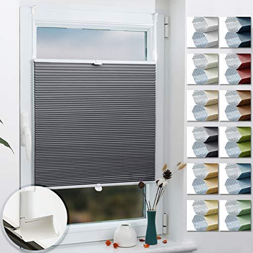 Grandekor Wabenplissee nach Maß Klemmfix ohne Bohren, Thermoplissee für Fenster & Tür, 100% Verdunkelung Sonnen-, Sicht- & Schallschutz Wärmeisolierung (Grau-Weiß, B: 70-90cm, H: 150-200cm)