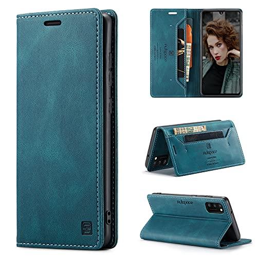 HülleNN Kompatibel mit Samsung Galaxy A41 Hülle Handyhülle Premium Leder Flip Hülle Magnetisch Klapphülle Wallet Lederhülle für Männer Frauen RFID Schutz Silikon Bumper Schutzhülle Geldbörse - Blaugrün