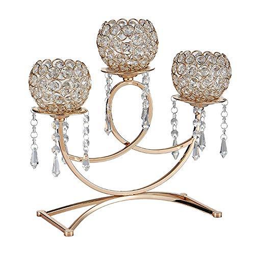 Vintage kandelaar kandelaar metaal kandelaar met 3 armen kristallen bol kandelaar waxinelichthouder voor woonkamer bruiloft dining