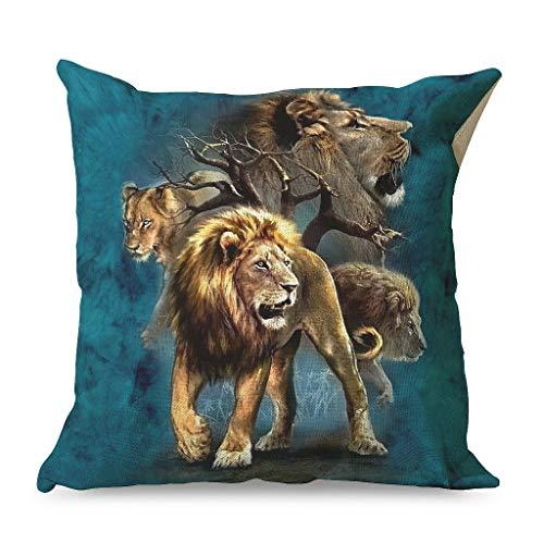 shenminqi Lion Chic - Fundas de almohada con cremallera para oficinas, estilo familiar, 45 x 45 cm, color blanco