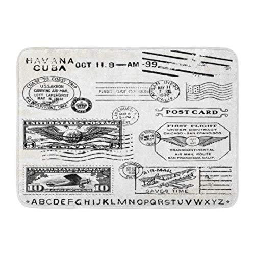 ECNM56B Doormats Bath Rugs Door Mat Cuba Retro Air Mail Stamps Great for Vintage Designs Postage USA Plane 15.8