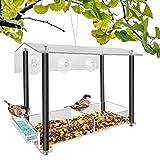 NIUXX Comedero para Pájaros Colgante de Exterior, Comedero Pajaros Transparente de Acrílico, Comedero Pájaros para Ventana con 3 Ventosas Fuertes, Casa de Pájaros para Loros Palomas y Pinzones, Negro