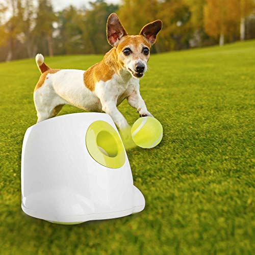 Mini Style Automatic Ball Launcher Dog Interactive Toy Dog Fetch Toy Pet Ball Thrower Throwing Machine 3pcs x 2'' Tennis Balls Included