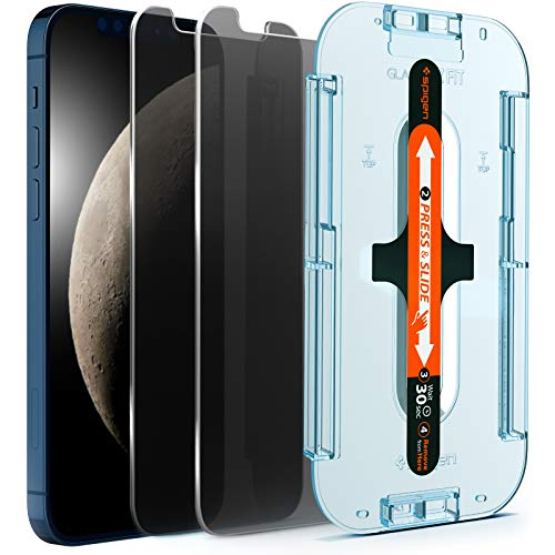 Spigen Anti-Glare Privacy EZ Fit Tempered Glass Screen Protector for iPhone 12 Pro Max - 2 Pack